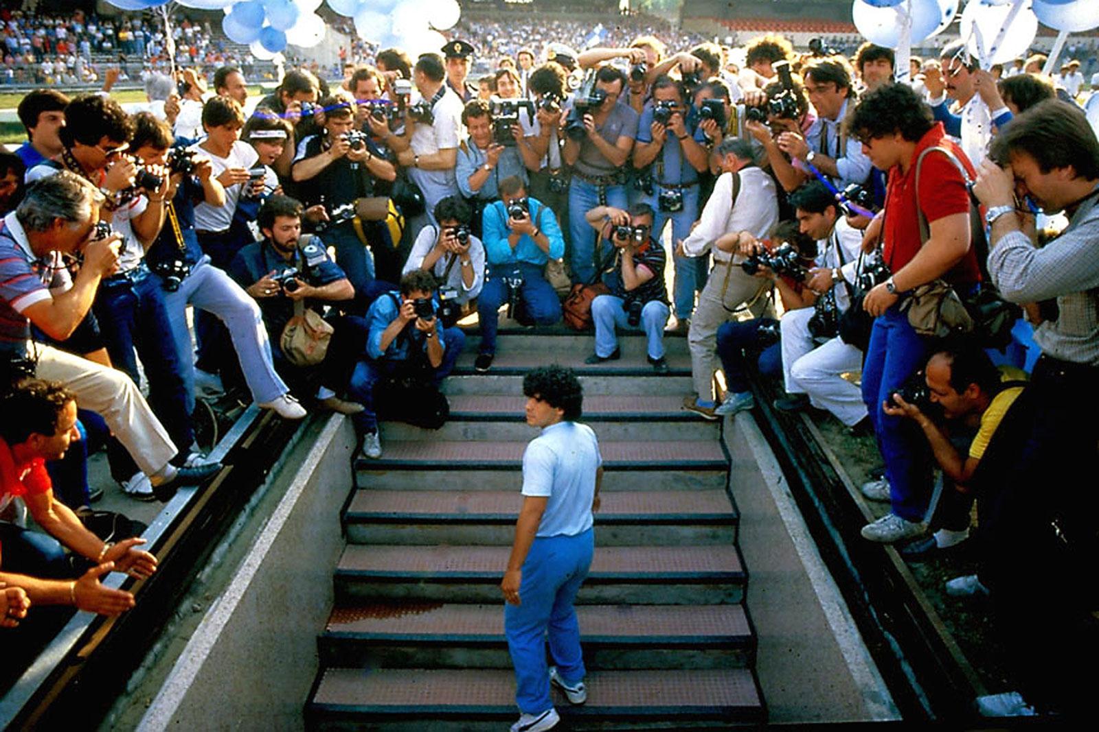 Diego Maradona enters Napoli's Stadio San Paolo
