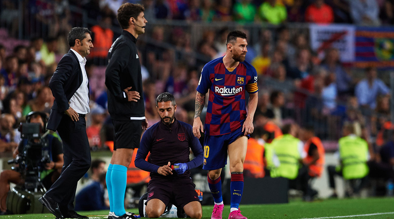 Lionel Messi is hurt playing for Barcelona
