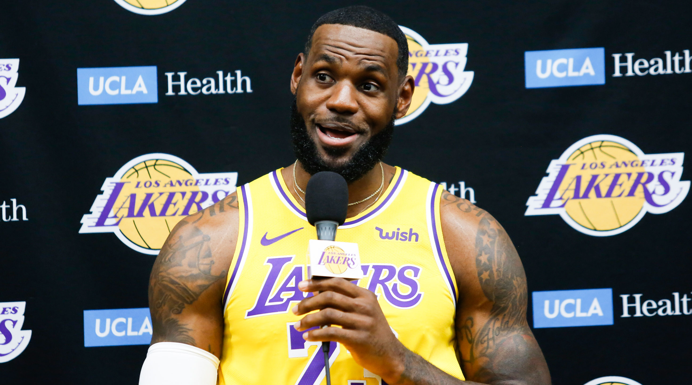 LeBron James talking at 2019 NBA Media Day