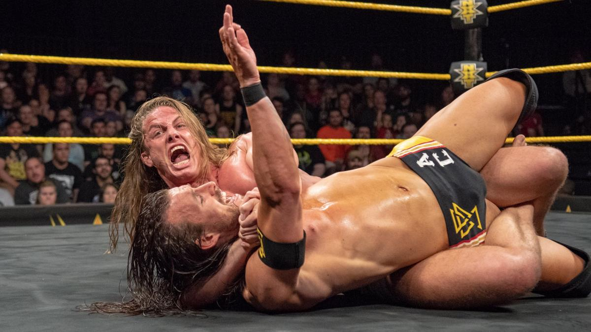 WWE NXT's Matt Riddle and Adam Cole wrestle in the ring