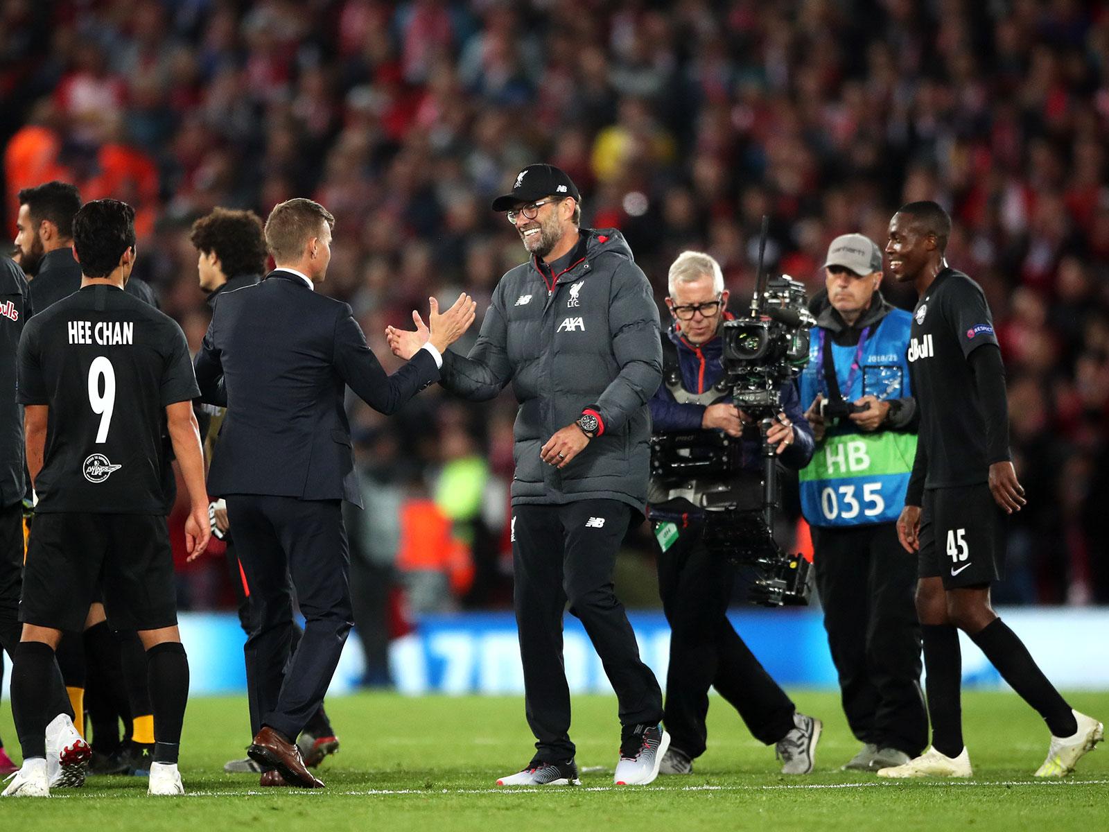 Jesse Marsch and Jurgen Klopp after Liverpool-Salzburg in Champions League