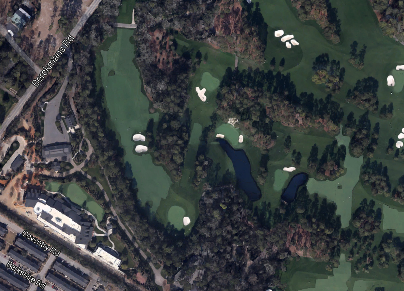 Berckmans Place [lower left of photo], Augusta National's new luxury VIP area, is hidden by trees behind the right side of the 5th fairway.
