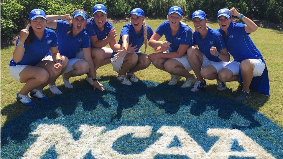 The BYU women's golf team celebrates their qualification to the national championship tournament.