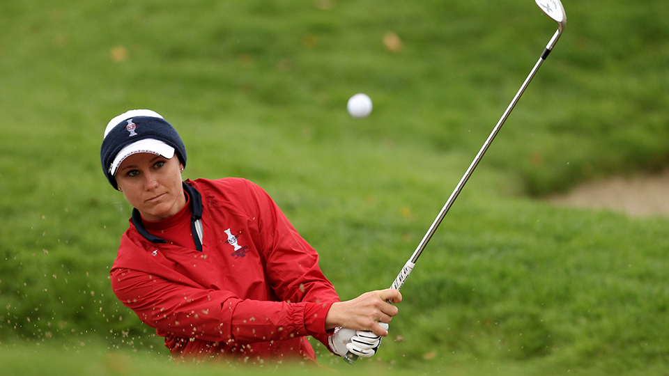 Ryann O'Toole hits from a bunker during the singles matches on day three of the 2011 Solheim Cup at Killeen Castle Golf Club.