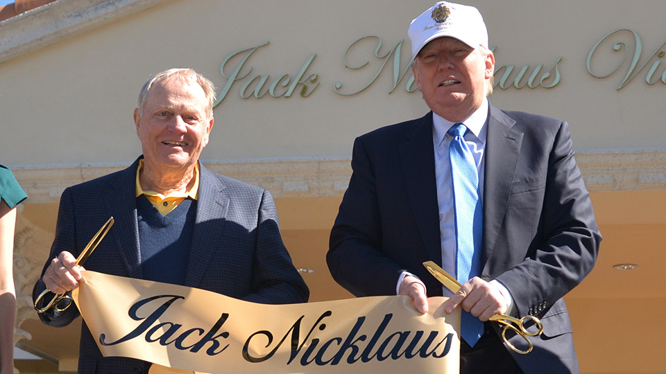Jack Nicklaus and Donald Trump at the unveiling of the Jack Nicklaus Villa at Trump Doral at Trump National Doral on February 20, 2015.