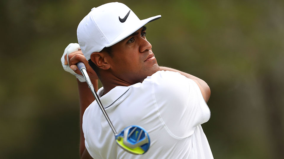 Tony Finau plays his shot from the ninth tee during the second round of The Players Championship at the Stadium course at TPC Sawgrass on May 13, 2016.