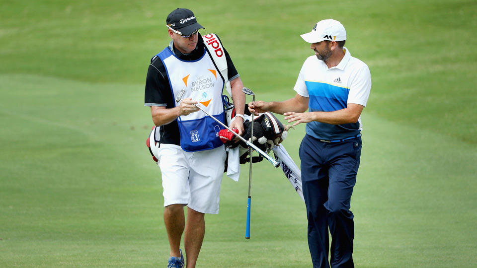 Sergio Garcia and his caddie Sunday at the 2016 AT&T Byron Nelson.