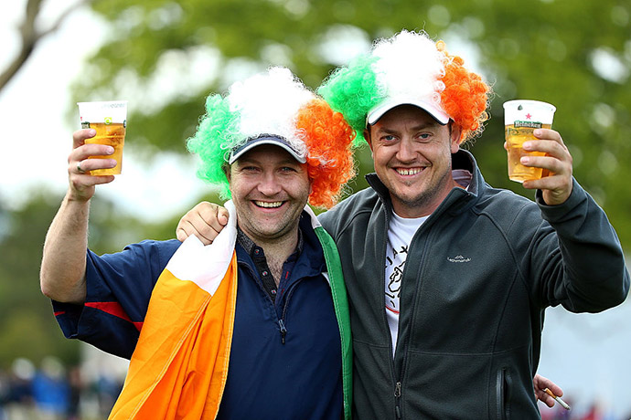 A pair of Irish fans enjoy a beverage during the third round of the Dubai Duty Free Irish Open Hosted by the Rory Foundation at The K Club on May 21, 2016 in Straffan, Ireland.