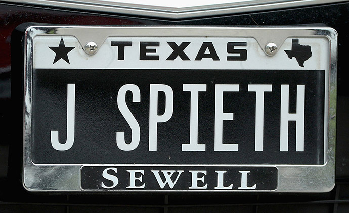 The license plate of Jordan Spieth is seen during the Final Round at AT&T Byron Nelson on May 22, 2016 in Irving, Texas.