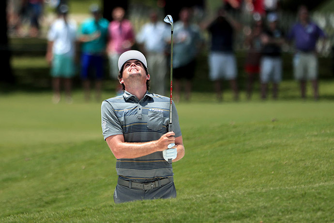 Keegan Bradley plays a shot from a bunker on the first hole during Round Two at the AT&T Byron Nelson on May 20, 2016 in Irving, Texas.