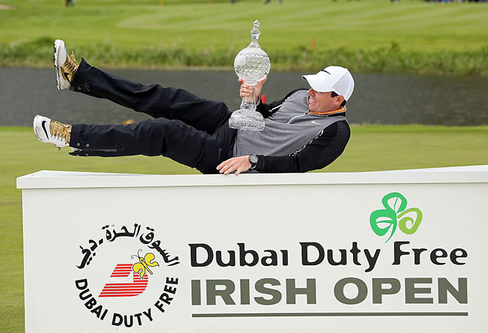 Northern Ireland's Rory McIlroy, poses with the trophy after his three shot victory in the Irish open golf tournament at The K Club, west of Dublin in Ireland on May 22, 2016.