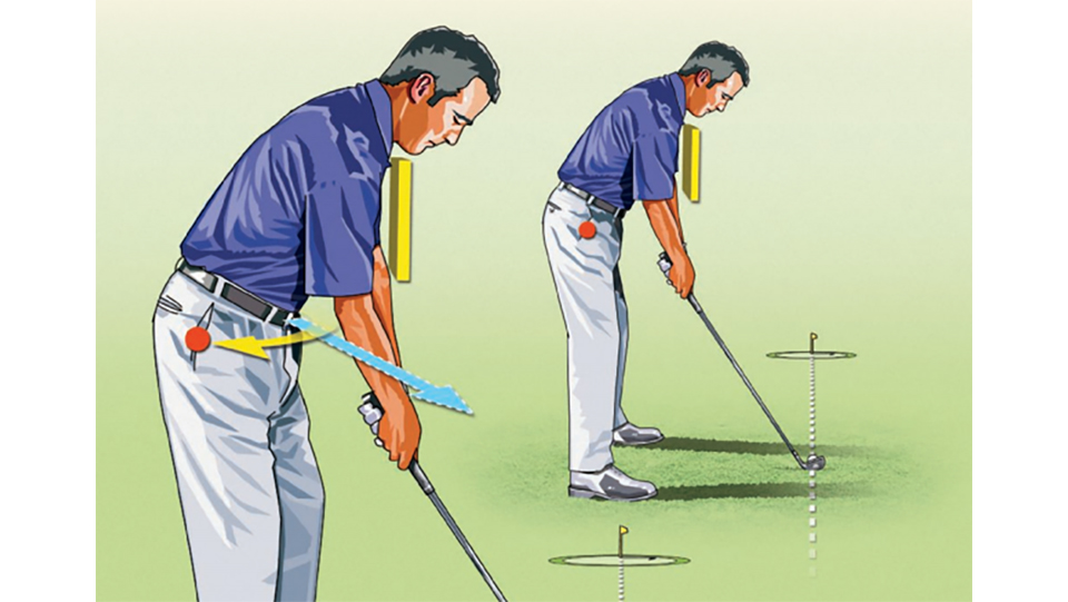 To change an in-to-out swing path to a draw-producing out-to-in move, preset your right hip: Move your right pocket slightly behind you at address.