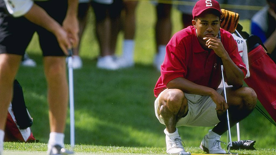 Tiger Woods in his Stanford days competing in the Division I Men's Golf Championships in June 1996.