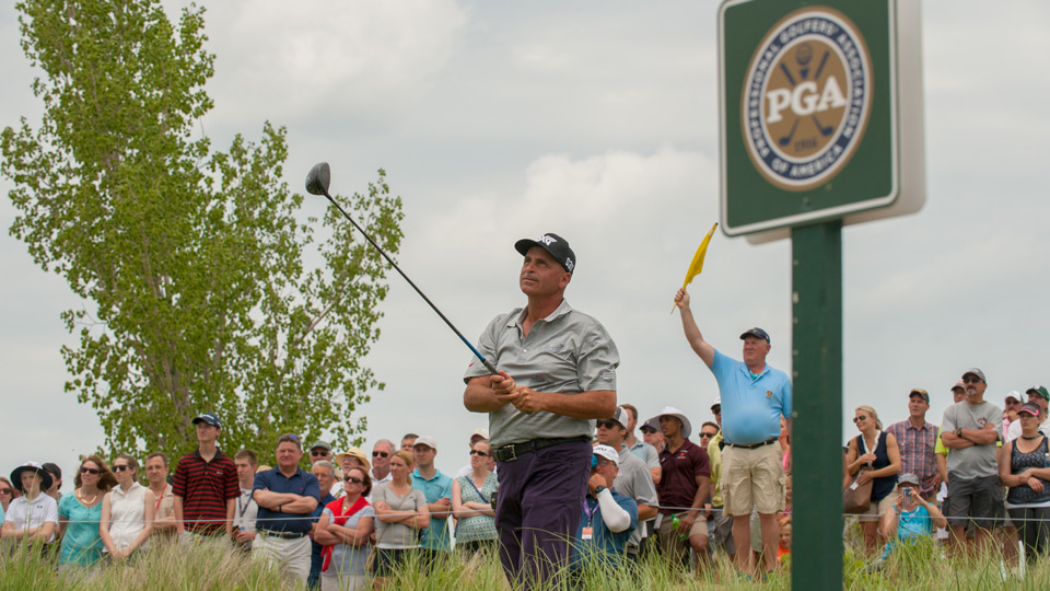 Rocco Mediate will take the lead into the final round of the Senior PGA Championship.