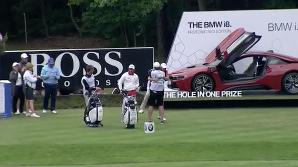 James Morrison celebrates his hole in one during the BMW PGA Championship.