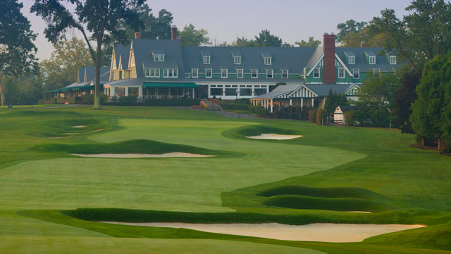 A general view of the par 4 18th hole at 2016 U.S. Open site Oakmont Country Club on September 3, 2015 in Oakmont, Pennsylvania.