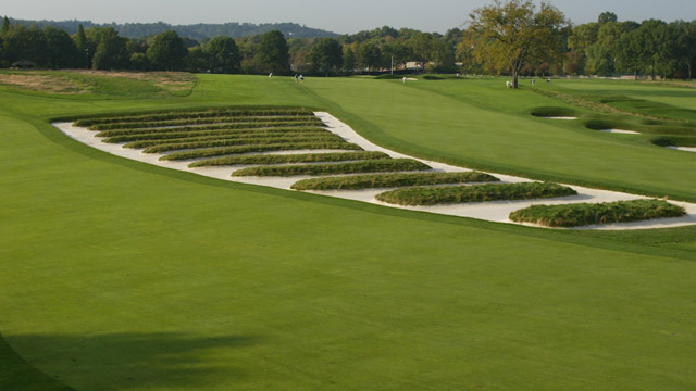 General view of the church pew bunkering on the third hole at Oakmont Country Club, site of the 2007 US Open on September 26, 2006 in Oakmont, Pennsylvania.
