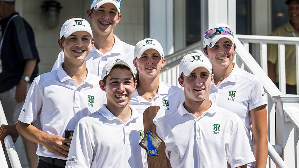 Tower Hill High School's golf team celebrates their first win at the 2016 DIAA Golf State Championship.