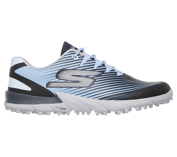 Skechers cushioned, striped Bionic golf shoe promises to keep the foot in a neutral, natural position as you swing and putt. The upper is waterproof, with a padded tongue and a padded inner fabric. In black, blue, and white, they're guaranteed to help ma