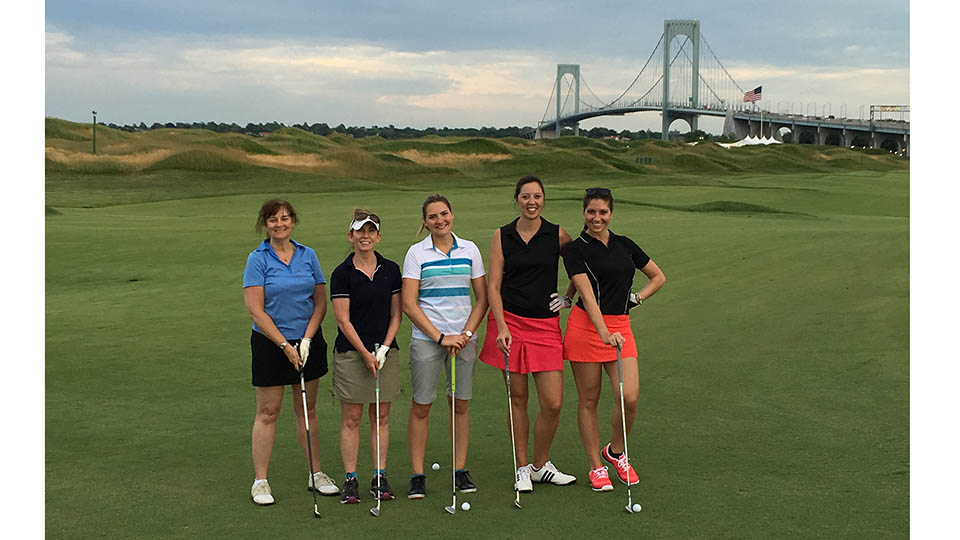 Jackie Lyons, Kathy Grey, the author, Nathalie Daniel and Alyssa Lubrino pose for a photo after their one-hole scramble.