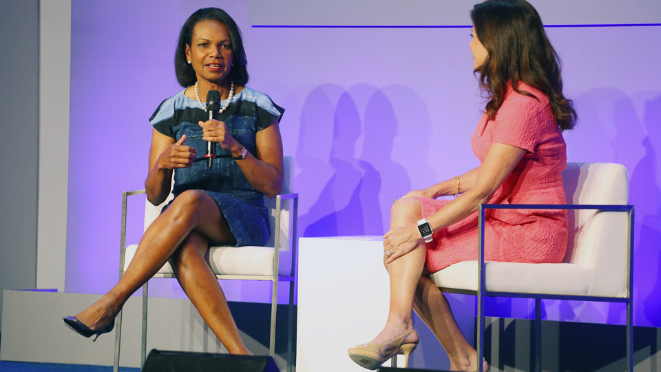 Former secretary of state Condoleezza Rice speaks during the KPMG Women's Leadership Summit prior to the start of the KPMG Women's PGA Championship on Tuesday in Sammamish, Washington.