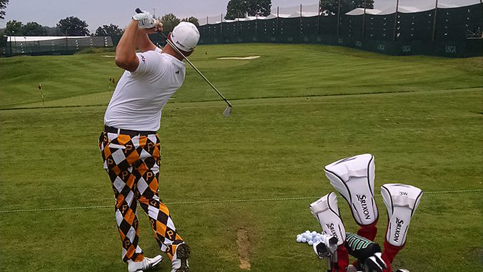 Mike Van Sickle was noticed for both his play, including an eagle on the par 4 10th hole, and his Pittsburgh-themed pants on Wednesday.