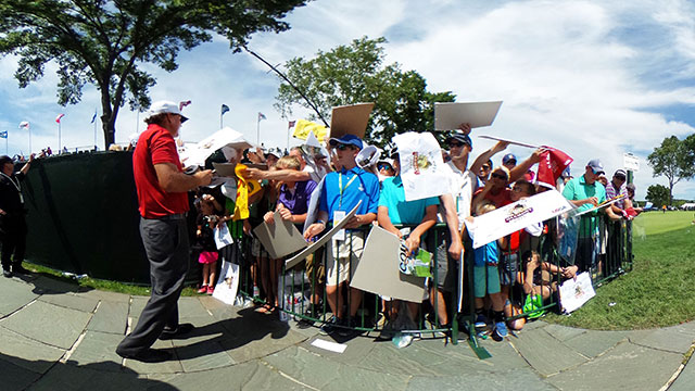 Phil Mickelson of the United States signs autographs during a practice round prior to the U.S. Open at Oakmont Country Club on June 13, 2016 in Oakmont, Pennsylvania.