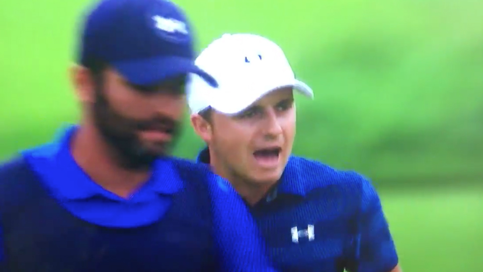 Jordan Spieth was not happy with a shot on the 17th during the first round of the U.S. Open.