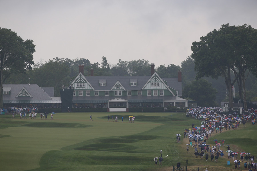 Thunderstorms plagued the first round of the U.S. Open at Oakmont Country Club.