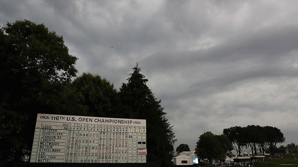 Dark clouds loom over Oakmont Country Club during Round 1 of the 2016 U.S. Open.