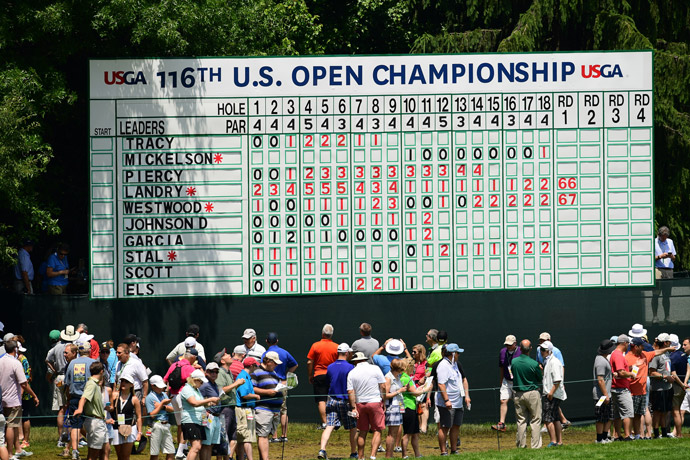 A view of one of the large leaderboards on the course early on Friday.