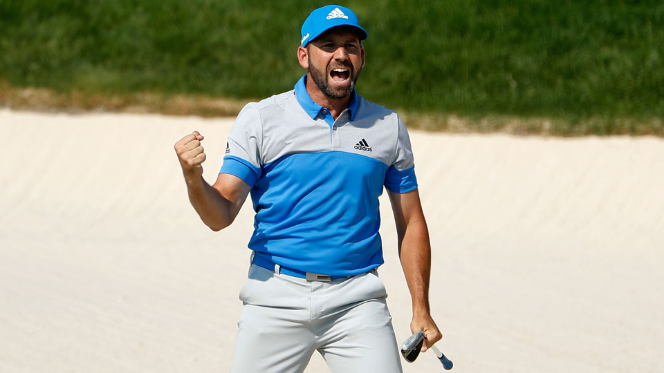 Sergio Garcia was fired up after holing out from a greenside bunker on Sunday.