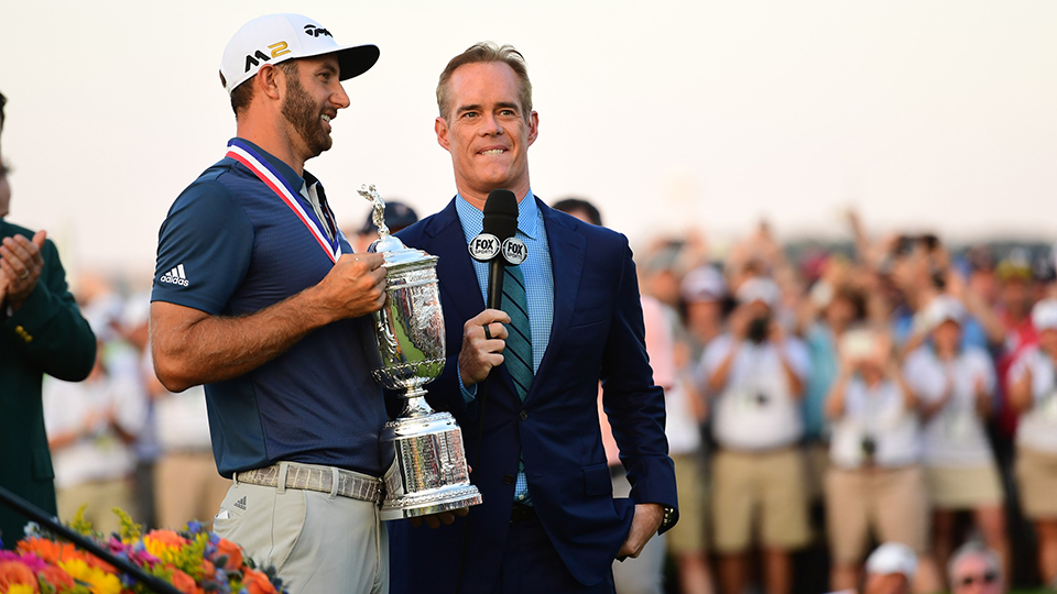 Fox Sports' Joe Buck interviews Dustin Johnson after he won the 2016 U.S. Open.