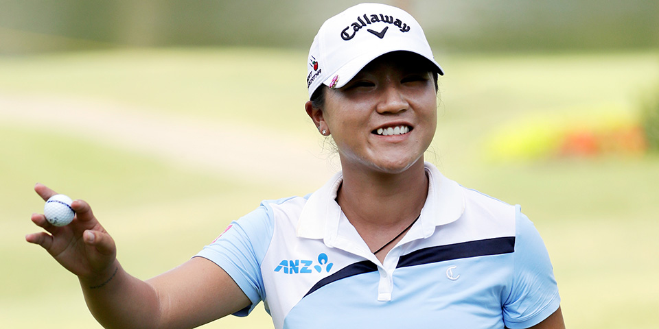 Lydia Ko reacts after making an eagle on the 18th hole during the second round of the 2016 Walmart NW Arkansas Championship.