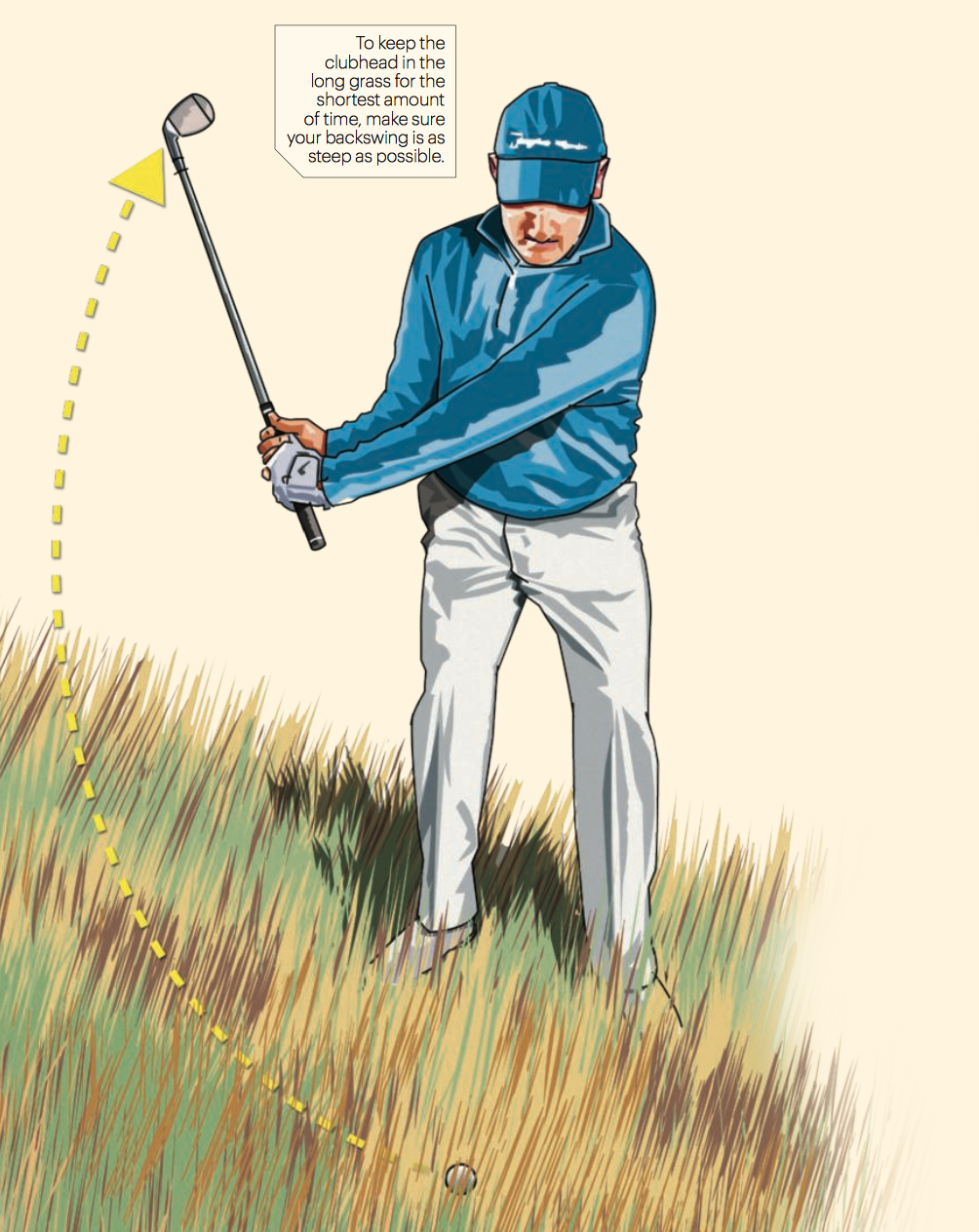 To keep the clubhead in the long grass for the shortest amount of time, make sure your backswing is as steep as possible.
