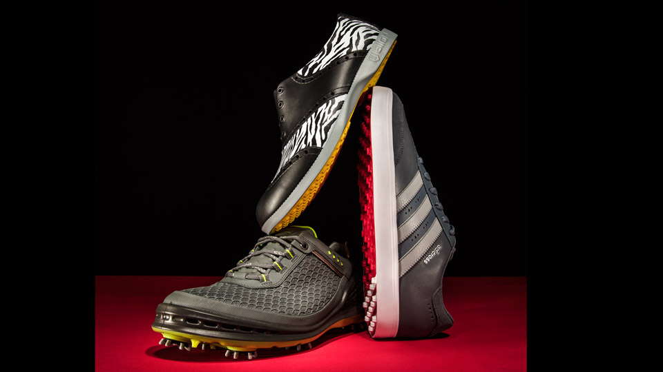 Left: ECCO CAGE EVO; Center: BIION PATTERNS; Right: ADIDAS ADICROSS V