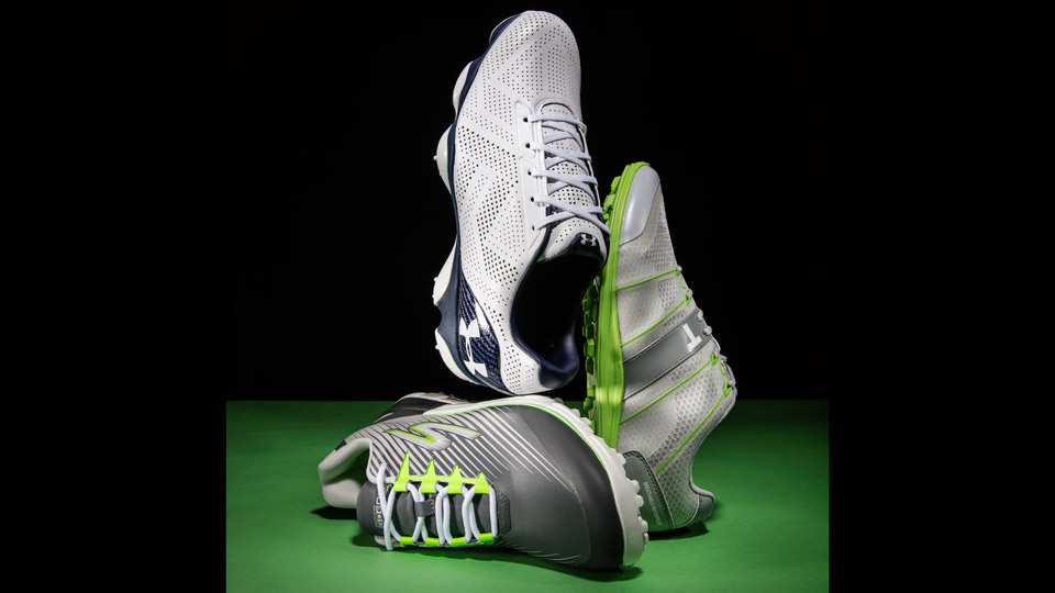 Left: SKECHERS GO GOLF BIONIC 2; Center: UNDER ARMOUR DRIVE ONE; Right: TRUE LINKSWEAR ELEMENTS HYBRID
