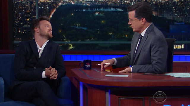 "Stephen Colbert and Aaron Paul discusses McCall, Idaho on ""The Late Show."""
