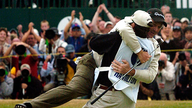 Todd Hamilton celebrates with his caddie after winning the 2004 British Open.