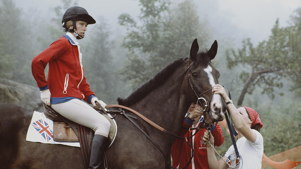 Princess Anne, mounting a charge at the 1976 Summer Olympics.
