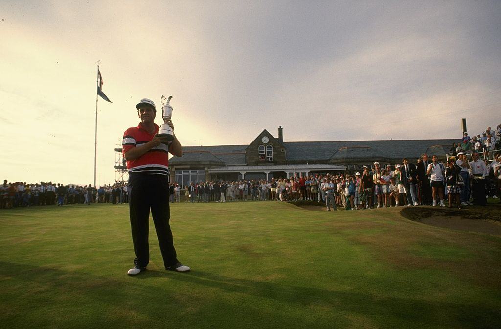 Mark Calcavecchia of the USA holding the Claret Jug after winning the British Open at the Royal Troon.