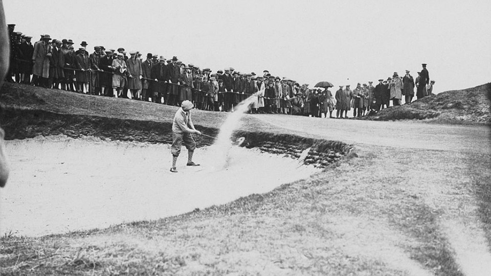 Arthur Havers plays from a bunker during the Open Golf Championship at Troon, Scotland, June 1923.