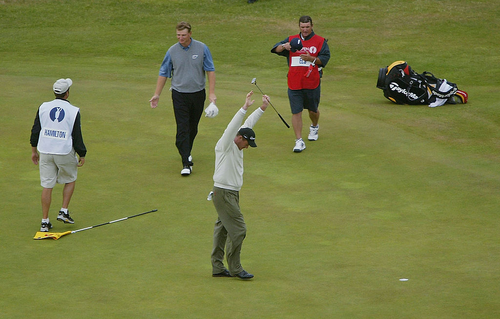 Todd Hamilton of the USA celebrates victory on the 18th green at the 133rd Open Championship, after a playoff.