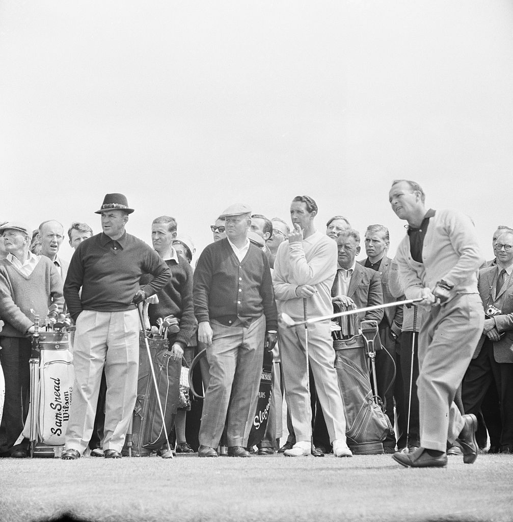 Sam Snead, Jack Nicklaus, Bob Charles and Arnold Palmer at the 1962 British Open at Royal Troon.