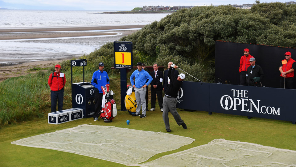Phil Mickelson tees off on the first hole Monday at Royal Troon.