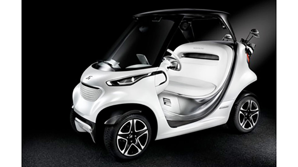 The new golf car from Mercedes-Benz and Garia won't be available for purchase until next year.
