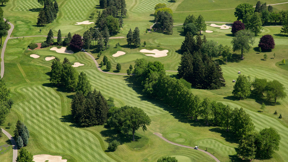 An aerial view of the Alister Mackenzie-designed U-M Golf course.