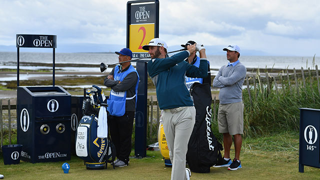 Dustin Johnson of the United States tees off during previews to the 145th Open Championship at Royal Troon on July 13, 2016 in Troon, Scotland.
