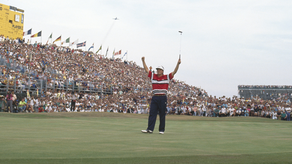 Mark Calcavecchia celebrates his 1989 British Open victory at Royal Troon.