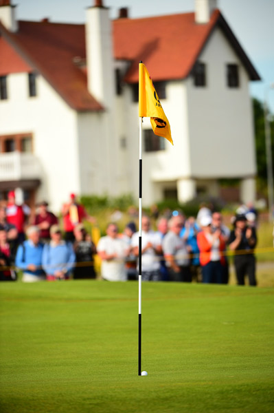 Lee Westwood's golf ball can be seen after Westwood chipped in during the first round.